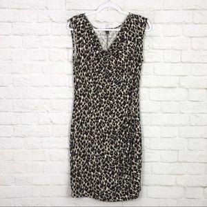 Ann Taylor Cowl Leopard Sleeveless Ruched Dress L